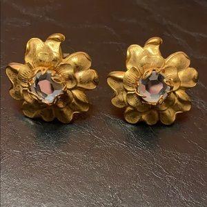 Miriam Haskell Flower/Crystal Clip Earrings
